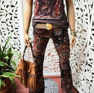 Free People block print stretch cord flares